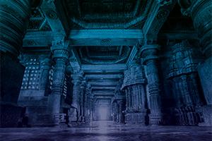 Corridor through an ancient building