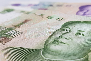 Close up of Chinese Yuan bank note