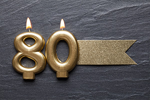 Gold candles that display 80 lit