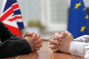 Two people sitting opposite each other, discussing the future between the UK and the EU