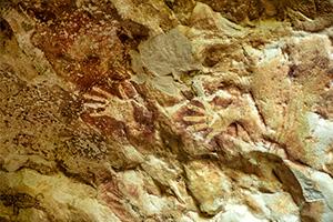 Very old dayak paintings in the Beloyot cave near Merabu village in North Kalimantan (Borneo)