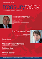 treasurytoday Magazine July/August 2008 cover