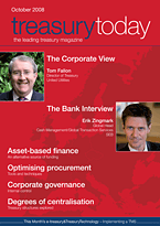 treasurytoday Magazine October 2008 cover