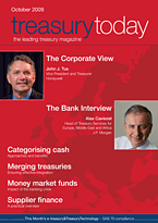 treasurytoday Magazine October 2009 cover