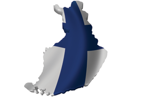 Map/flag of Finland