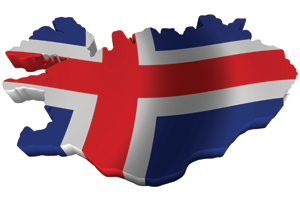Map/flag of Iceland