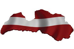Map/flag of Latvia